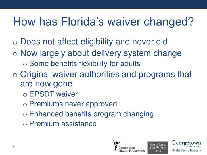 How has Florida's waiver changed?