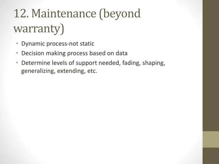 12. Maintenance (beyond warranty)