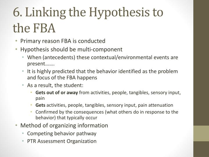 6. Linking the Hypothesis to the FBA