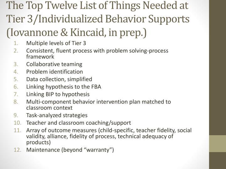 The Top Twelve List of Things Needed at Tier