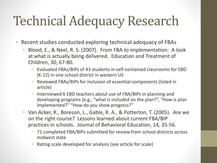 Technical Adequacy Research