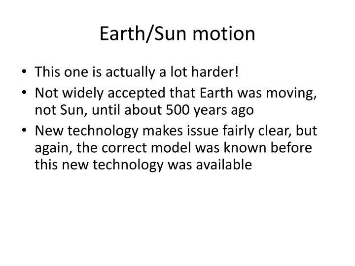 Earth/Sun motion