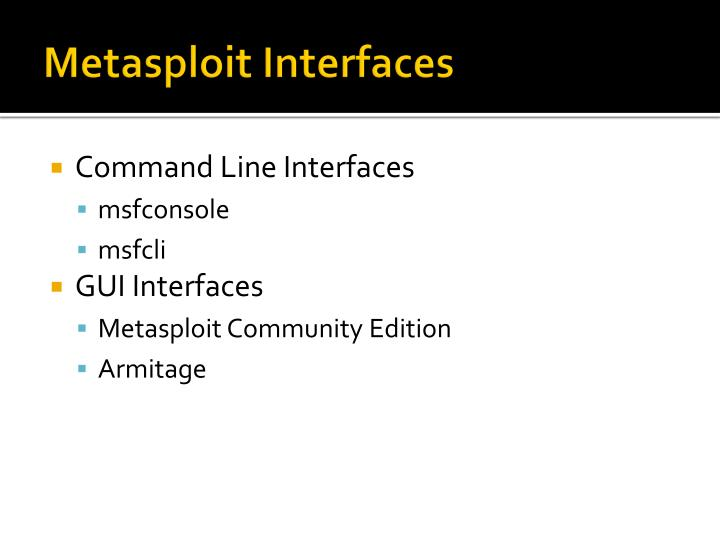 Metasploit Interfaces