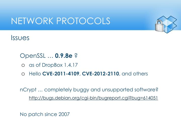 Network protocols