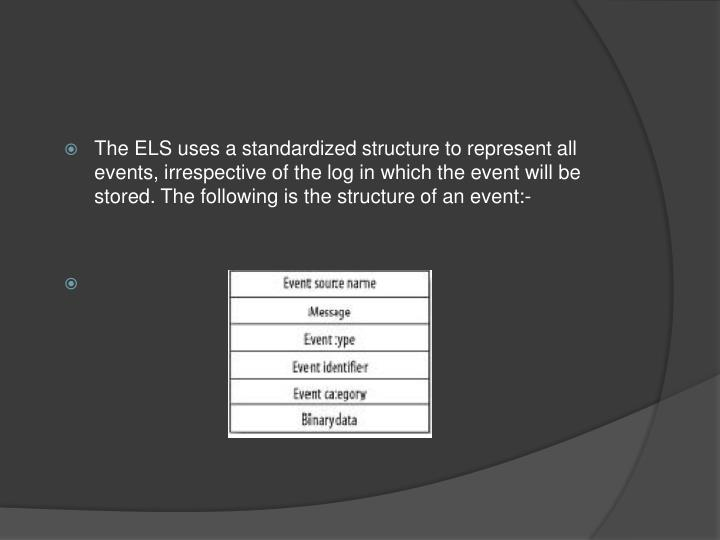 The ELS uses a standardized structure to represent all events, irrespective of the log in which the event will be stored. The following is the structure of an event:-