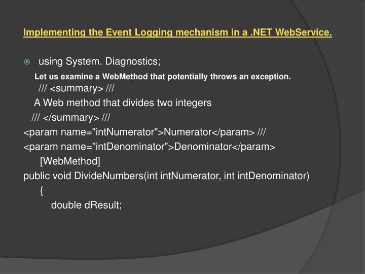 Implementing the Event Logging mechanism in a .NET
