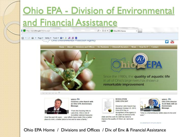 Ohio EPA - Division of Environmental and Financial Assistance