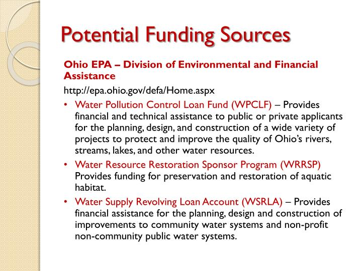 Potential Funding Sources