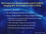 nci center for bioinformatics and it cbiit imaging wg new contract 2013 2014