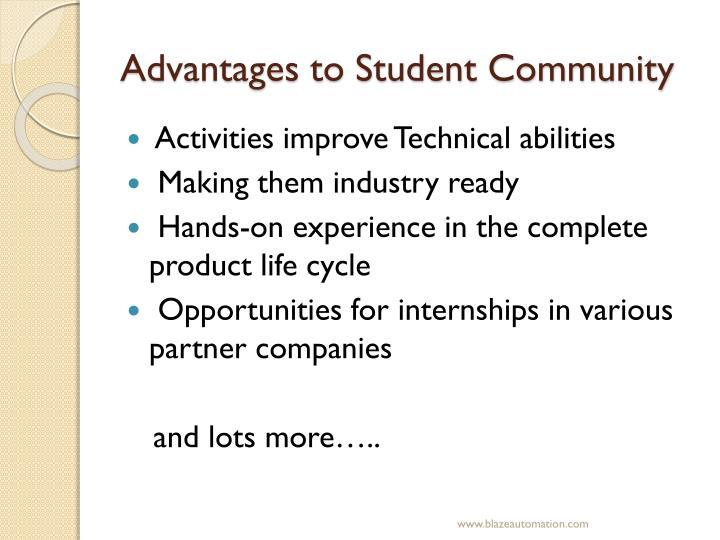 Advantages to Student Community