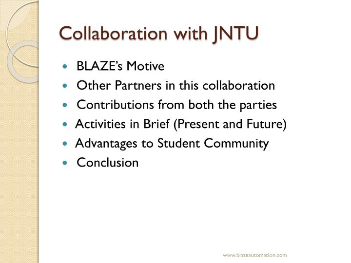 Collaboration with JNTU