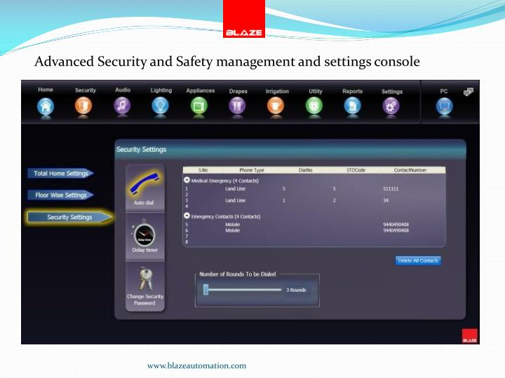Advanced Security and Safety management and settings console