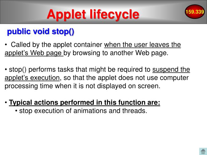 Applet lifecycle