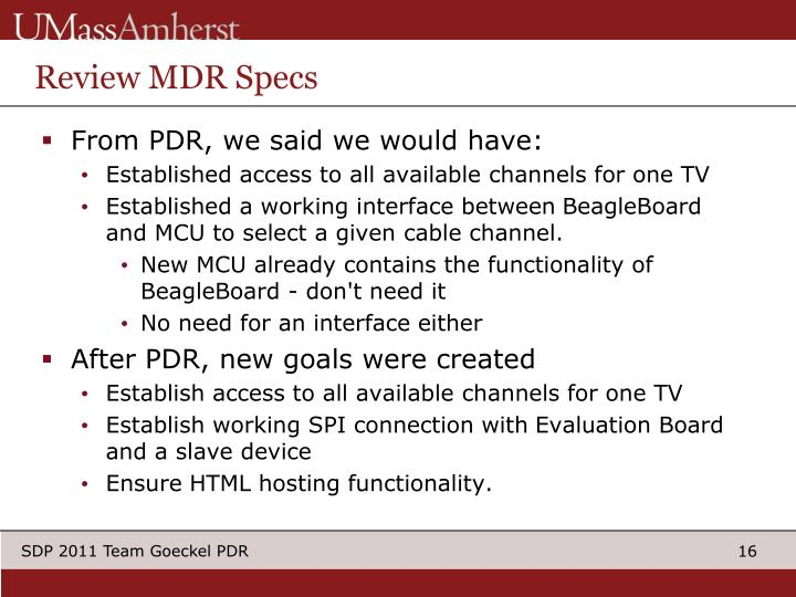 Review MDR Specs