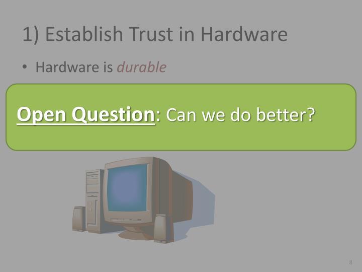 1) Establish Trust in Hardware