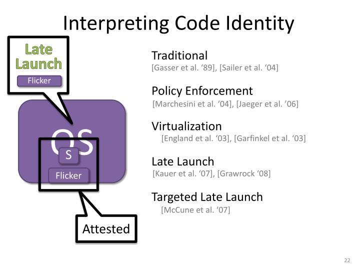 Interpreting Code Identity