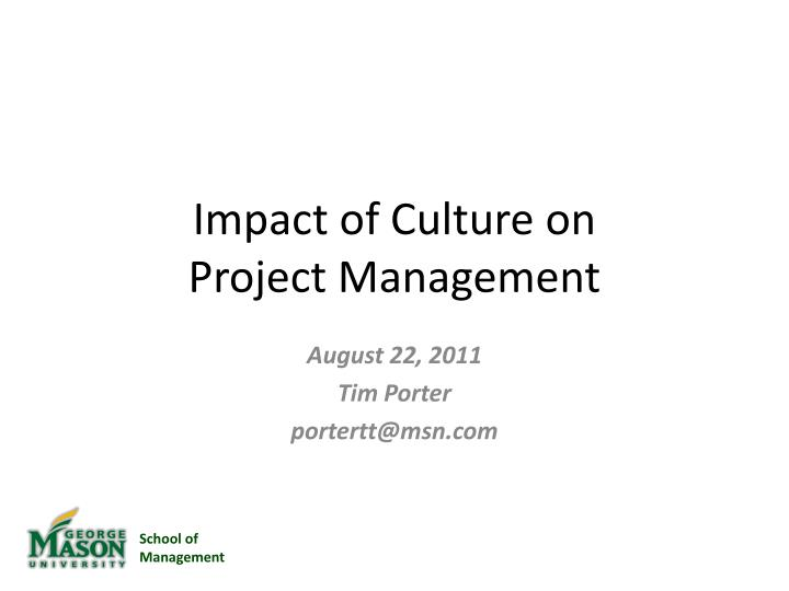 impact of culture on project management n.