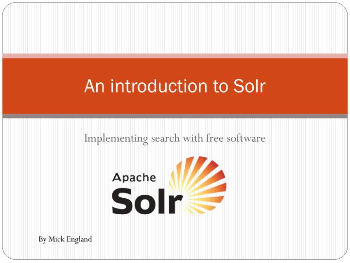an introduction to solr n.