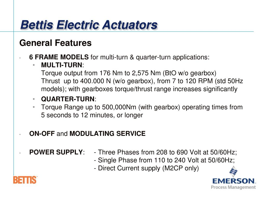 PPT - Bettis Electric Actuators PowerPoint Presentation - ID:1574717