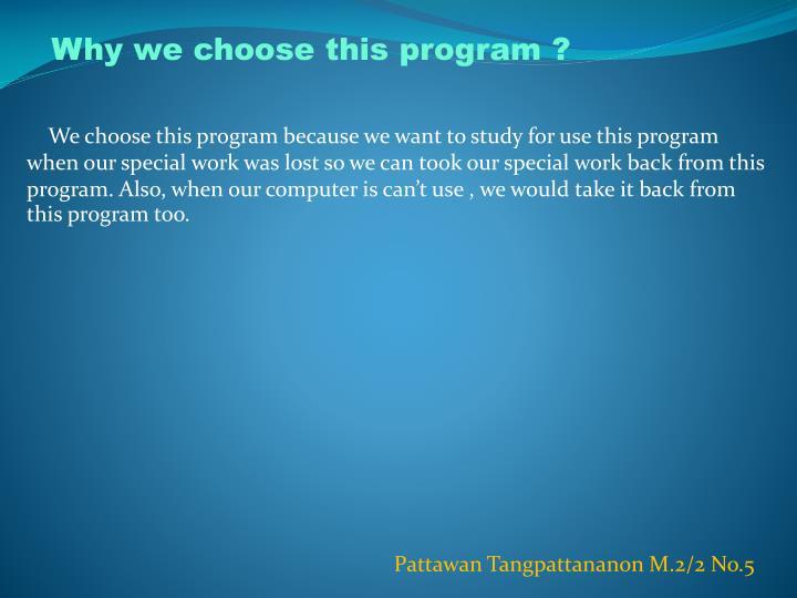 Why we choose this program ?