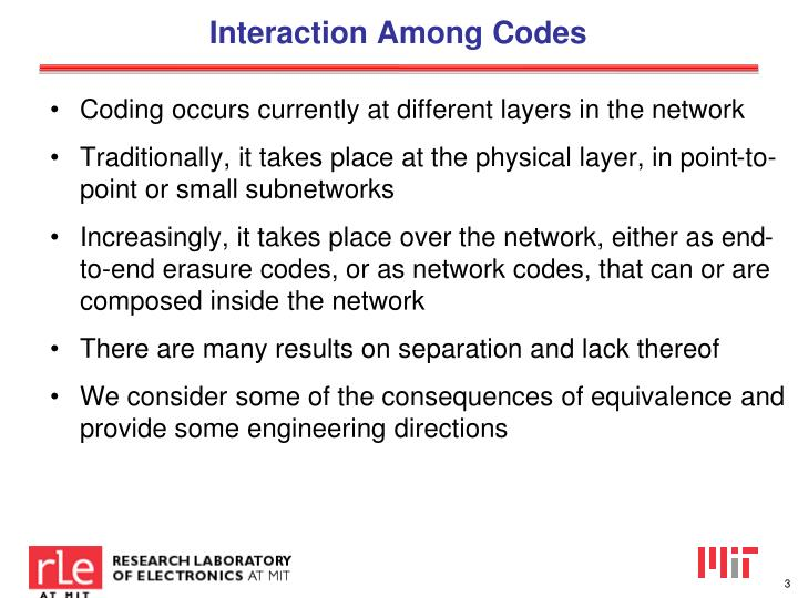 Interaction among c odes