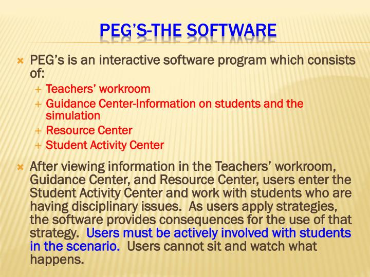 Peg s the software