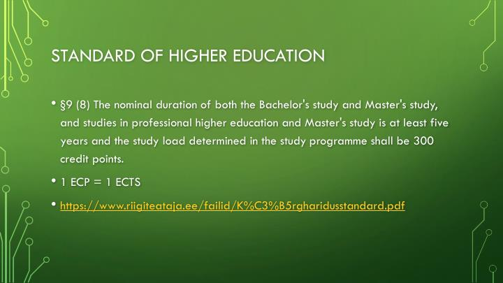 Standard of higher education
