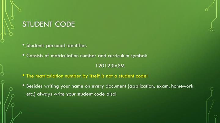 Student code