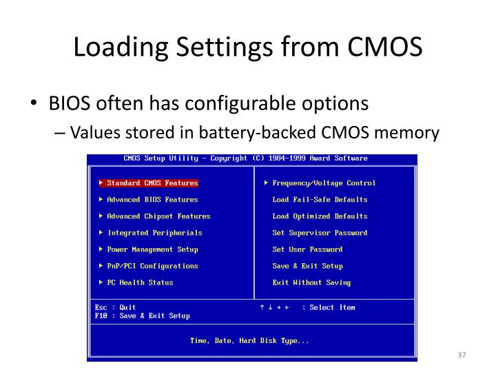 Loading Settings from CMOS