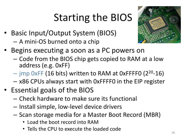 Starting the BIOS