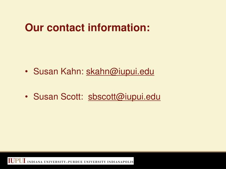 Our contact information: