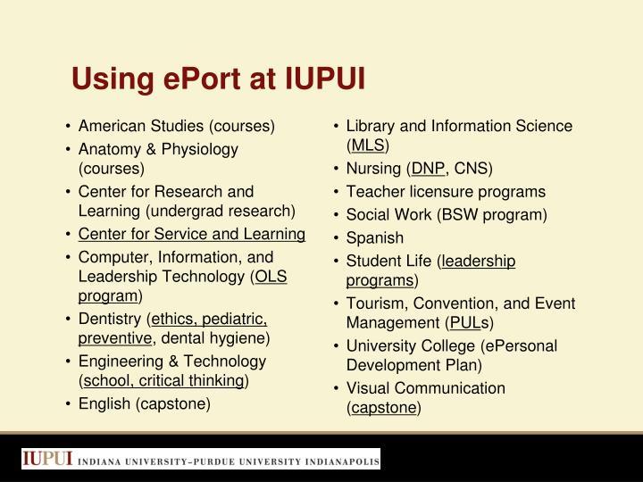 Using ePort at IUPUI