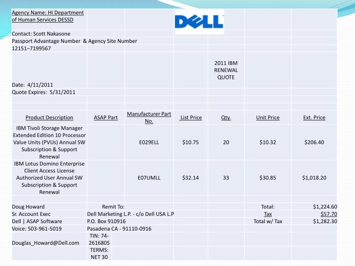 State of hawaii dell software software contract spo price list 05 16