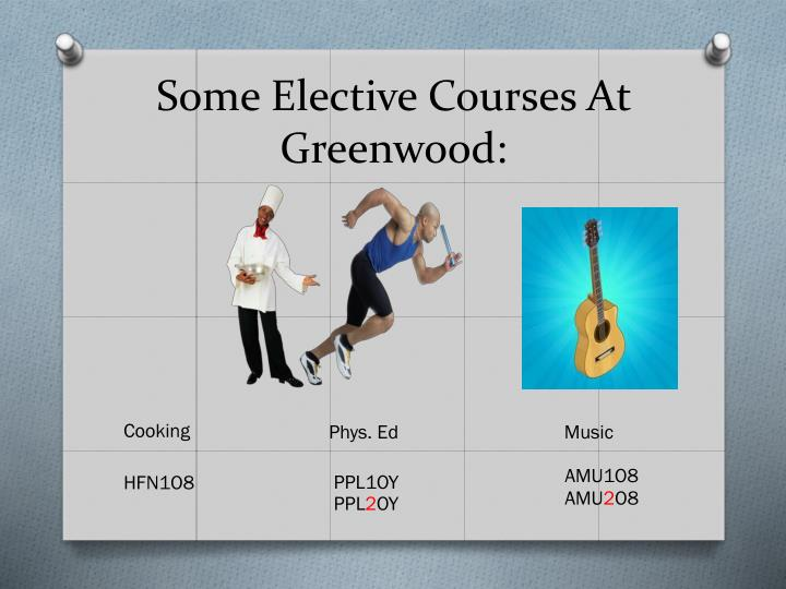 Some Elective Courses At Greenwood: