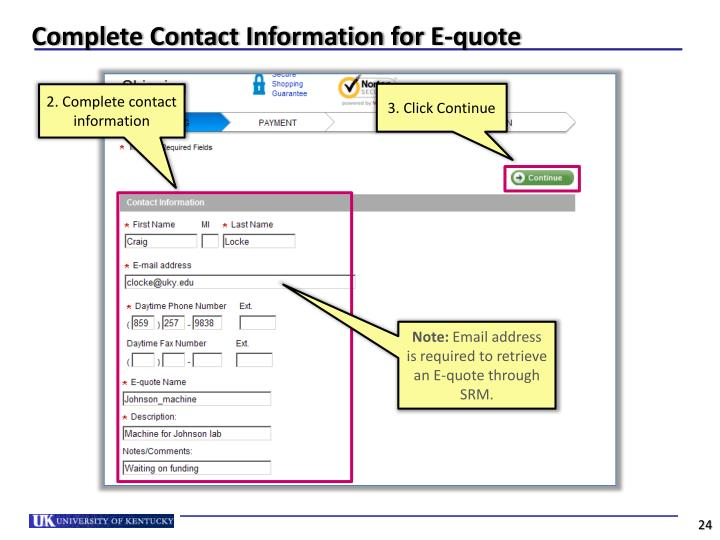 Complete Contact Information for E-quote