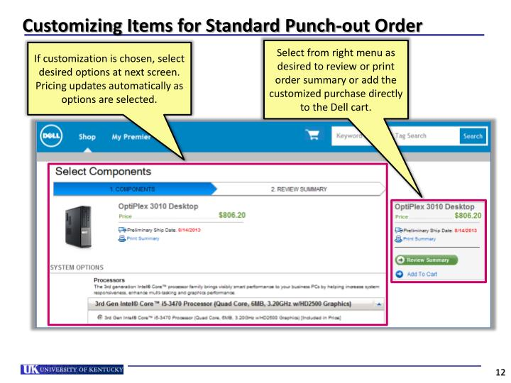 Customizing Items for Standard Punch-out Order