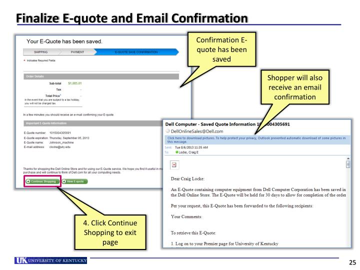 Finalize E-quote and Email Confirmation