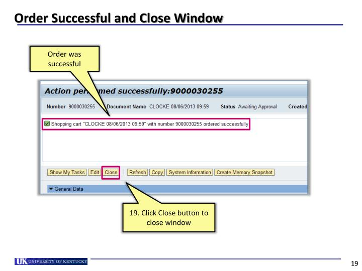 Order Successful and Close Window