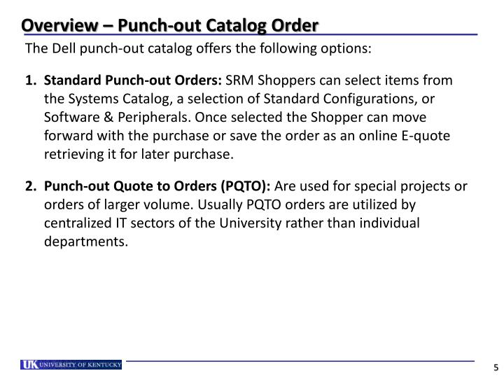 Overview – Punch-out Catalog Order
