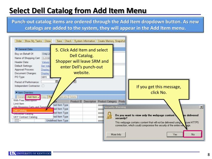Select Dell Catalog from Add Item Menu