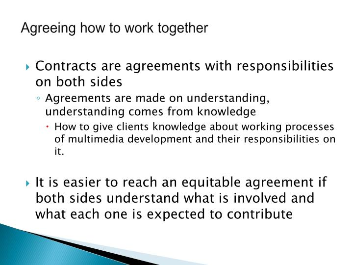 Agreeing how to work together