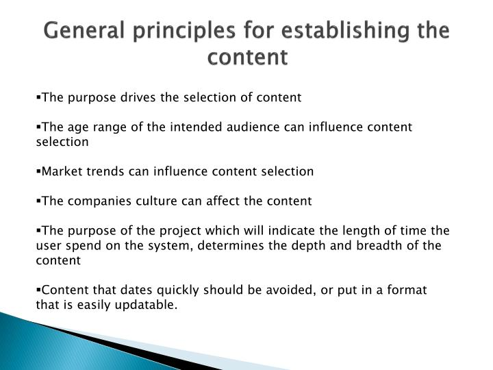 General principles for establishing the content