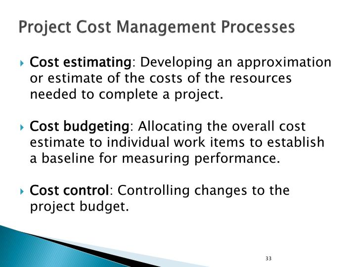 Project Cost Management Processes