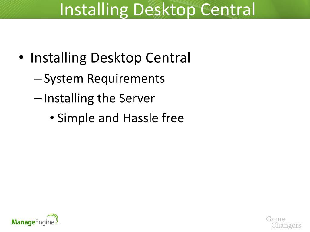 PPT - Training on ManageEngine Desktop Central PowerPoint