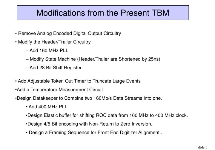 Modifications from the present tbm