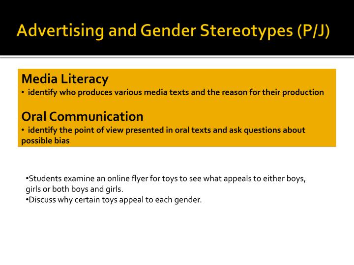 Advertising and Gender Stereotypes (P/J)