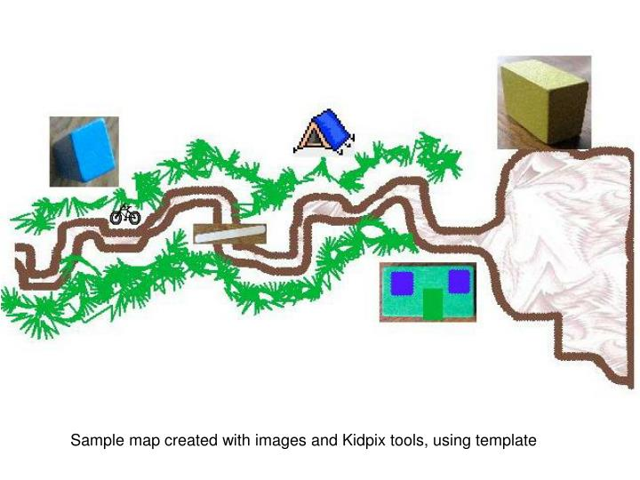 Sample map created with images and Kidpix tools, using template