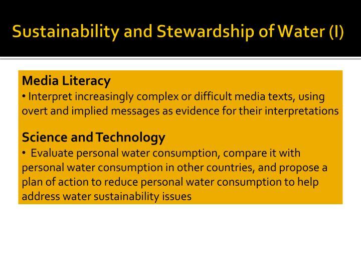 Sustainability and Stewardship of Water (I)