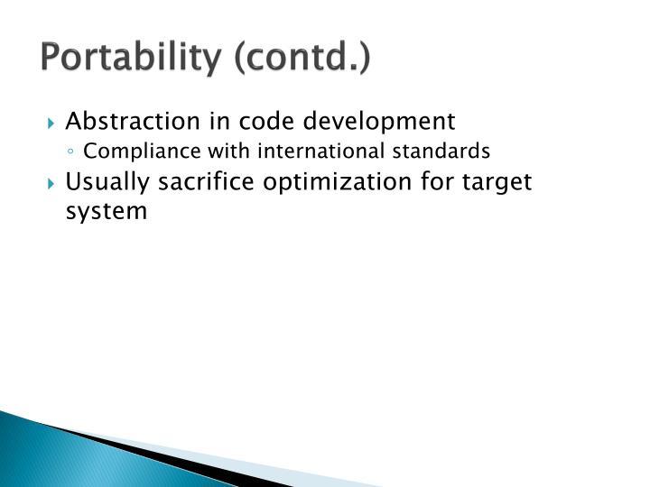 Portability (contd.)