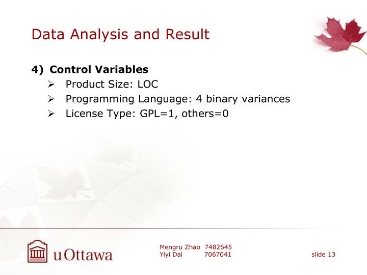 Data Analysis and Result